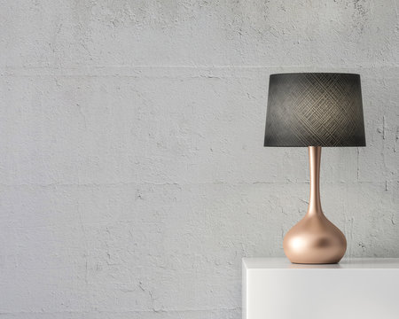 Stylish table lamp mockup with black shade and gold stand