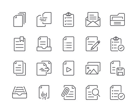 Simple Set of Document Line Icon. Editable Stroke
