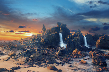 Abstract digital composite of mountans and waterfall