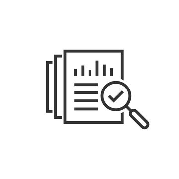 Audit document icon in flat style. Result report vector illustration on white isolated background. Verification control business concept.