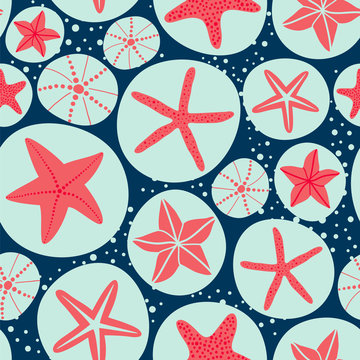 Starfishes and sea urchin. Seamless vector pattern in marine theme.