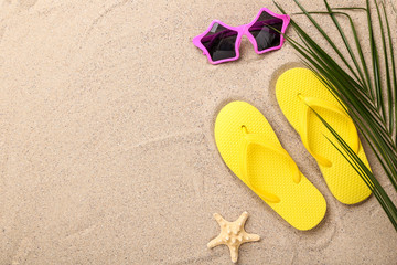 dacfcb7c8c08 Pair of flip flops with starfish and palm leaf on beach sand