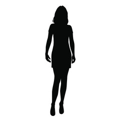 Vector silhouette  woman standing, people, black color, isolated on white background