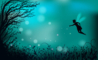 deep fairy forest silhouette at night with fairy girl and fireflies,