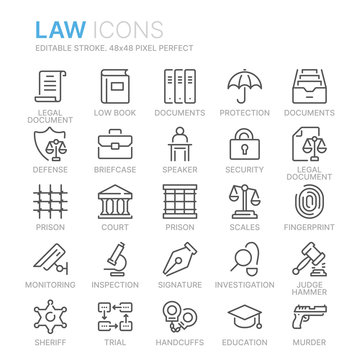 Collection of law and justice line icons. 48x48 Pixel Perfect. Editable stroke