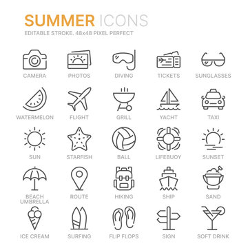 Collection of summer line icons. 48x48 Pixel Perfect. Editable stroke