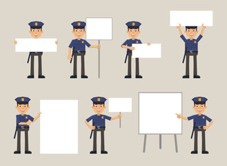 Set of policeman characters posing with different blank banners. Cheerful police officer with paper, poster, placard, pointing to whiteboard. Teach, advertise, promote. Flat vector illustration