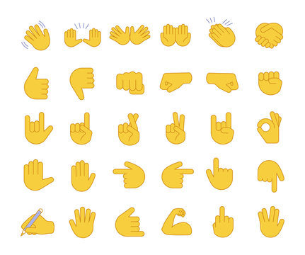 Hand gesture emojis color icons set