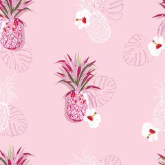 Summer sweet seamless pattern of pineapple and hibiscus exotic flowesr in hand drawn line style design for fashion,fabric,wallpaper,web,and all prints