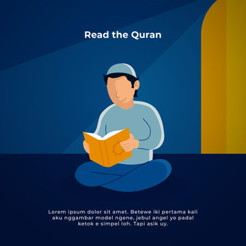 Muslim man reading the holy quran in the mosque. ramadan activity vector illustration design.