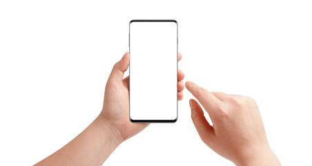 Hands holding modern phone, isolated on white background. Mockup