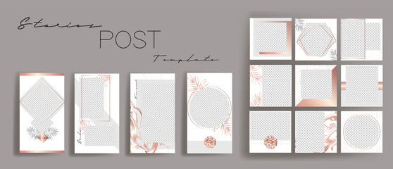 Design backgrounds for social media banner.Set of instagram stories and post frame templates.Vector stories cover. Mockup for personal blog or shop. Endless square puzzle layout for promotion.