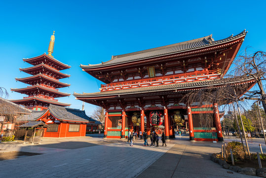 Morning view around Asakusa Sensoji Temple in Asakusa Tokyo. Oldest temple in Tokyo and on of the most significant Buddhist temples located in Asakusa.