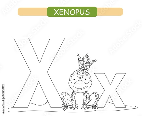 picture about Letter X Printable known as Letter X and amusing cartoon xenopus. Coloring webpage. Pets