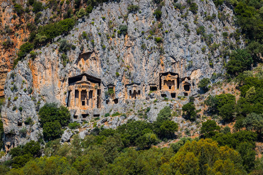Ancient antique tombs of Lycian kings in the Taurus mountains