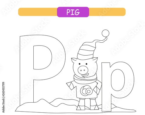 picture regarding Printable Letter P named Letter P and amusing cartoon pig. Coloring webpage. Pets