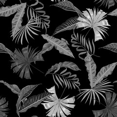Monotone black and grey vector seamless beautiful artistic bright tropical pattern with exotic forest. Colorful original stylish floral background print,