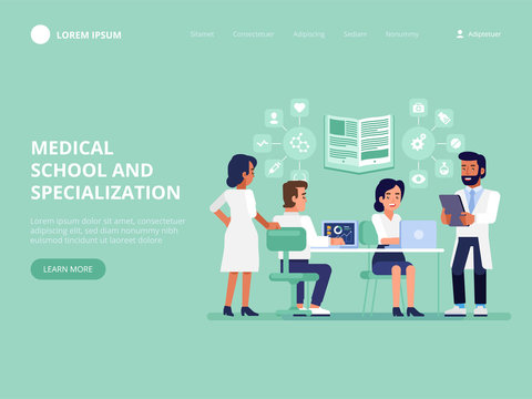 Medical school and specialization. Group of medical students or nurses.