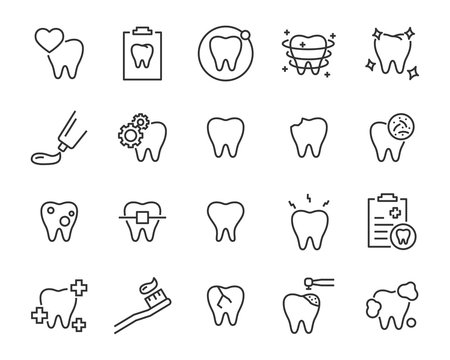 set of teeth icons, such as, tooth, dentist, clean, protect, treat, oral