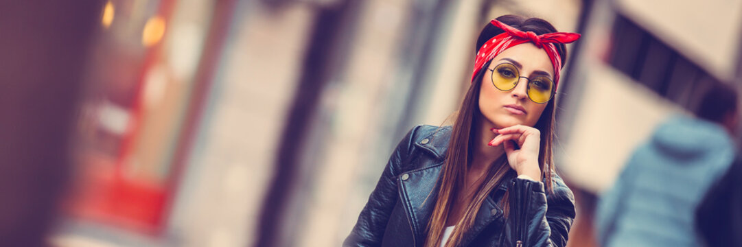 Young beautiful stylish girl
