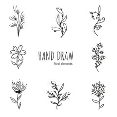 Set of Coloring Page Pattern. Adult Coloring Book Set and Antistress freehand sketch with flowers. Vector illustration.