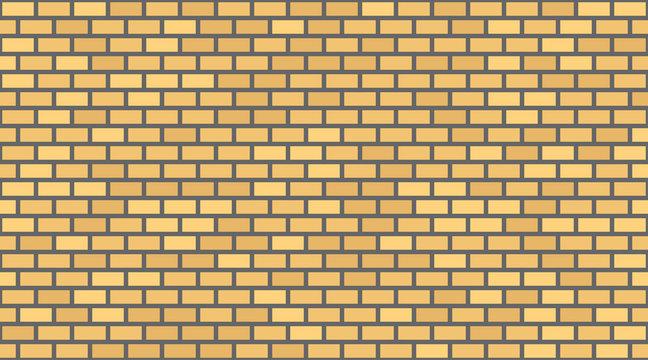 Vector yellow brick wall background. Old texture urban masonry. Vintage architecture block wallpaper. Retro facade room illustration