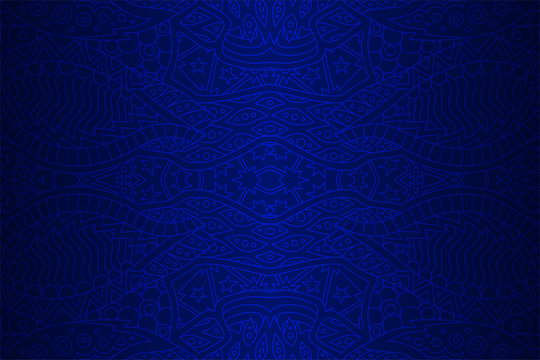 Beautiful blue background with linear seamless eastern pattern