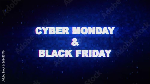 Cyber Monday Black Friday Text Digital Noise Twitch and Glitch