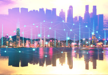 Wall Mural - Network city
