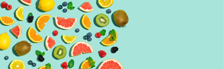 Estores personalizados con tu foto Collection of mixed fruits overhead view flat lay