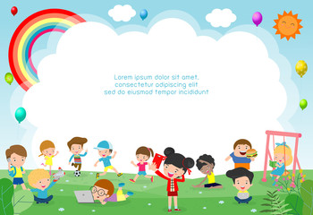 happy children playing in playground. Template for advertising brochure. Ready for your message. background vector illustration