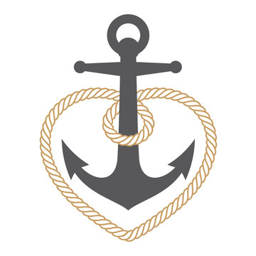 Vector marine anchor with rope heart. Isolated on white background.
