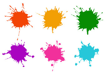 Photo sur Plexiglas Forme Vector Colorful paint splatters.Paint splashes set.Vector illustration design.