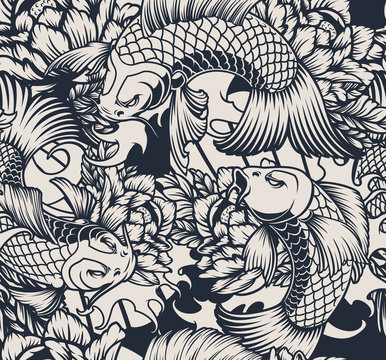 Seamless pattern with koi carp