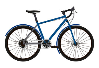 Vector illustration of a touring or cross bike in a flat style isolated on a white background. Well detailed.