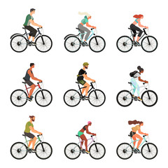 Cpllection of people riding bicycles isolated on a white background. A set of young, healthy and happy people on their bikes keeping a healthy lifestyle. Colorful vector illustration.