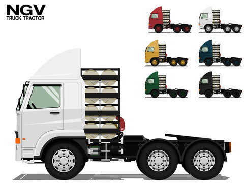 Isolated NGV Truck tractor on transparent background