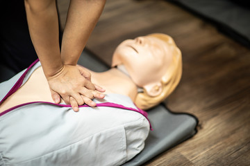 First Aids Emergency CPR training for rescue Heart Attack push hands on chest for sample and testing for right way to rescue,Selective Focus,Rescue Concept