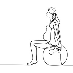 Pregnant women continuous line drawing minimalist design doing yoga