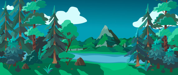 Vector illustration of a forest landscape, mountains and a river at night. Cartoon style wallpaper, flyer, banner or landing page. Camping place in the wood near the water.