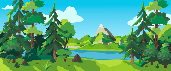 Photo sur Plexiglas Vert chaux Vector illustration of a sunny forest, mountains and a river. Cartoon style wallpaper, flyer, banner or landing page. Camping place in the wood near the water.