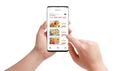 Female hands ordering food with food delivery app on black smartphone, isolated on white background