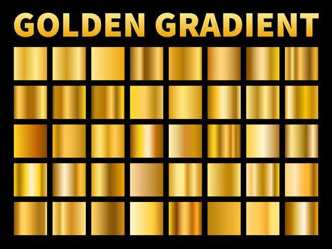 Golden gradients. Gold squares metal gloss gradient swatches, empty metallic yellow plate frame, label texture. Vector set