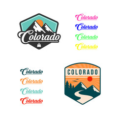 Mountain illustration, outdoor adventure . Vector graphic for t shirt and other uses. logo set
