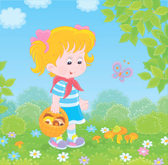 Wall Murals Birds, bees Girl walking with a basket and gathering mushrooms on a green forest glade on a summer day, vector illustration in a cartoon style