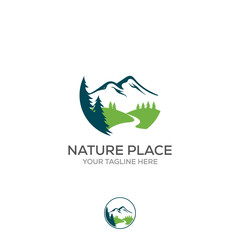 Mountain logo, elegant mountain vector logo design and creeks or rivers