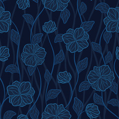 Fototapeta Seamless vector floral pattern with abstract outline tropical flowers in neon blue and black colors on mosaic background. Endless print in boho style