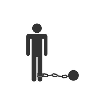 Prisoner with ball on chain icon isolated. Flat design. Vector Illustration