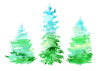 Spruce border.Coniferous forest.Silhouette of fir trees.Watercolor hand drawn illustration.White background.