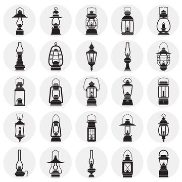 Lantern icons set on circles white background for graphic and web design. Simple vector sign. Internet concept symbol for website button or mobile app.